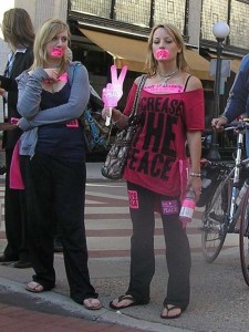 Prostesters in St. Paul wearing pink.
