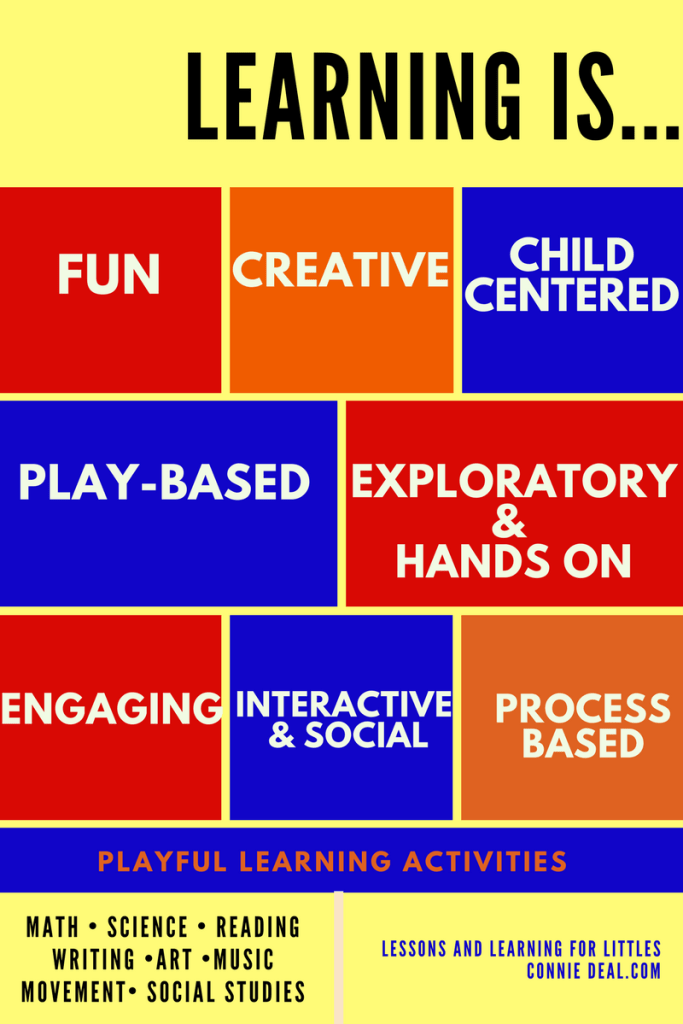 How should children learn? Why should we do playful learning activities? Won't that take more time? What is the best way to teach my toddler? How can I teach my preschooler the abcs or to count? Through play! Learning is fun, creative, child-centered, play-based, and fun!