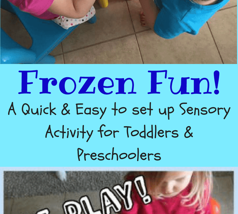 Ice play for toddlers is a great sensory activity. Ice play is an easy preschool sensory activity as well. Taste safe sensory activity for babies too!