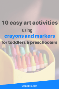 10 easy art activities for toddlers and preschoolers using crayons and markers. Quick and easy art activities for 2 year olds. Little to no set-up time required. Great gift ideas!