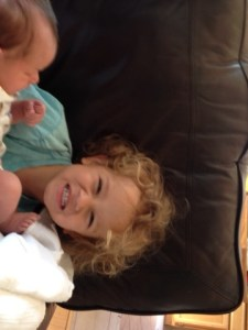 Jude with his brother Drake.  (If this photo seems just a little chaotic, well, that's life with a new baby!)