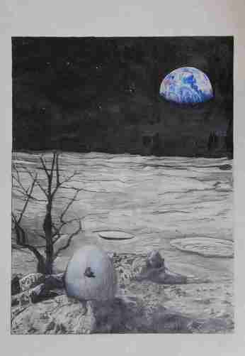 2015-04-27 Landscape (Moon) - 'Hatching Moonscape' (Graphite and Colored Pencil)