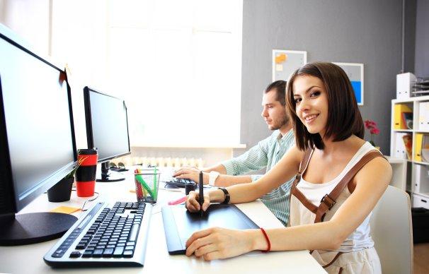 female designer at desk