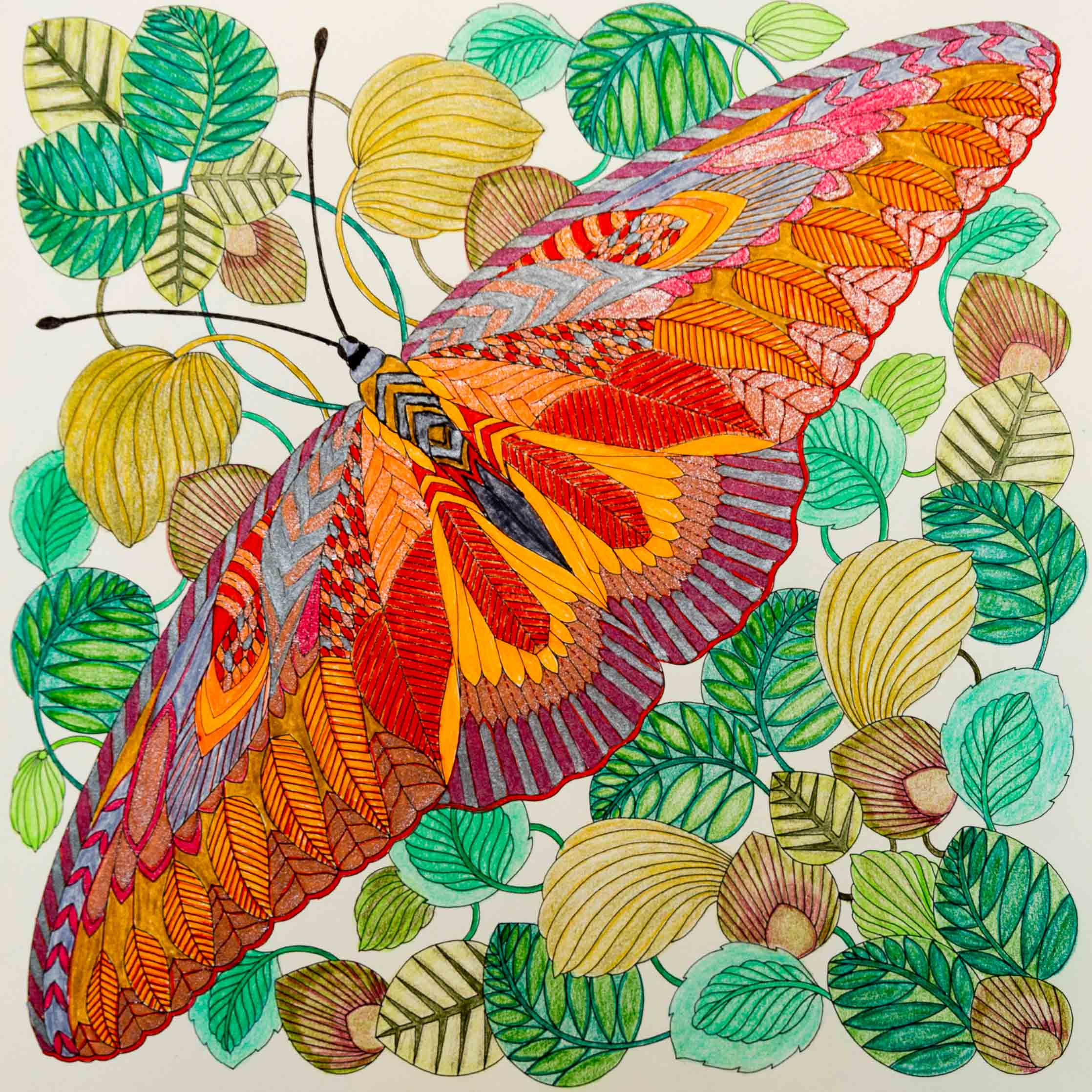 Gekleurd met gelpennen, diverse soorten stiften en Faber Castell kleurpotloden