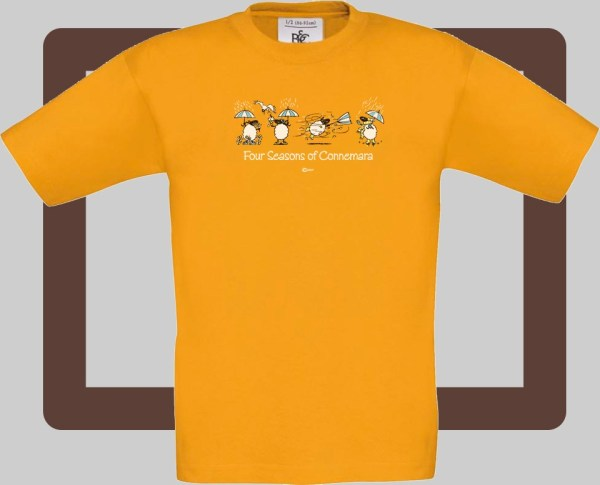 Our kids connemara apricot t-shirts are bright and fun for kids of all ages | T-shirts from Conn O'Mara for Connemara kids.