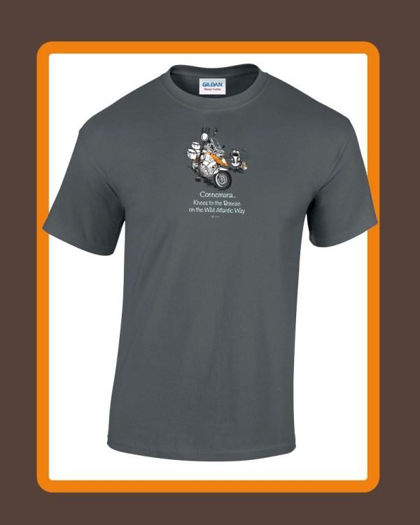 Mens connemara T-shirts by Conn O'Mara | T-shirts, clothing for men of Connemara | Mens tee shirt from the Back with Conn O'Mara Logo at top.