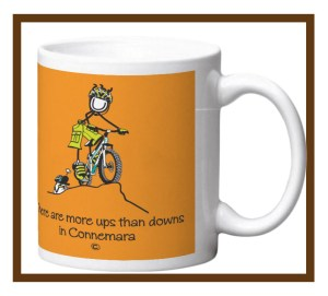 """Porcelain mugs with """"Ups and downs"""" design wrap."""