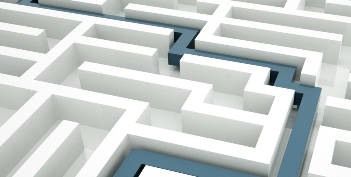 Maze with blue line through it. http://connygraf.com #grafetized