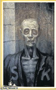 Met dit schilderij gaf Bakkenes zijn ervaringen in het kamp weer.