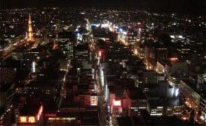 Panorámico de Sapporo de noche