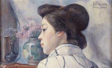 Pintura de Tsuguharu Foujita detalle