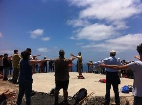 Practicando Chi Kung en lo alto del Volcán del Vigía