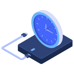 isometric backup backups clock hdd scheduled ssd storage icon