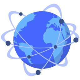 isometric cdn connected dots earth globe world