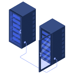 isometric center connected data racks server servers icon
