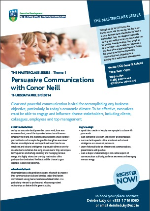 Event: Persuasive Communication Masterclass in UCD Smurfit Business School (Dublin)