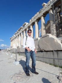 In front of the Parthenon