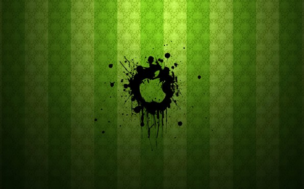 I love this splattered Apple graphic and overlaid it on a nice green wallpaper.