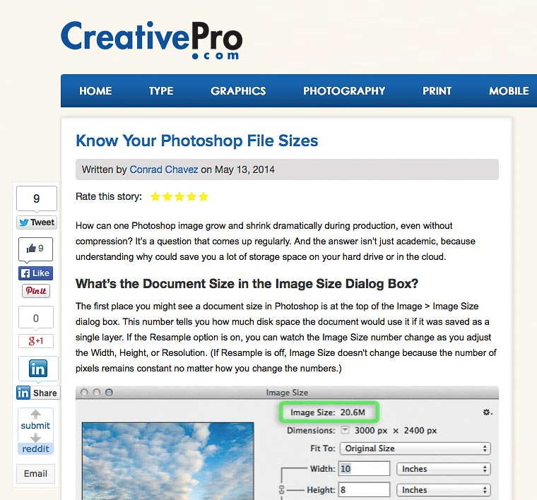 Know Your Photoshop File Sizes on CreativePro.com