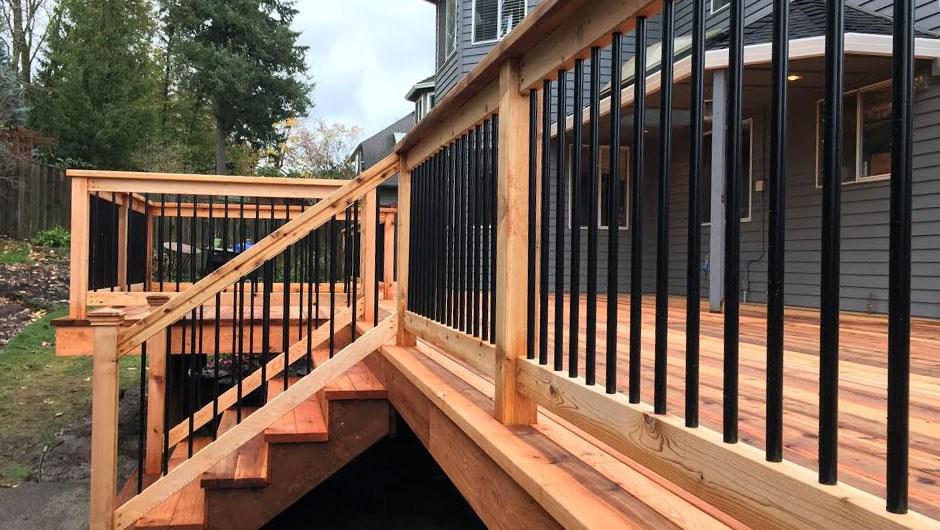 Deck Railing Conrad Lumber Co Portland Oregon   Metal Handrails For Decks   Small Deck   Outdoor   Residential   Metal Rope   Decorative