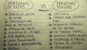 personas de éxito vs. personas toxicas