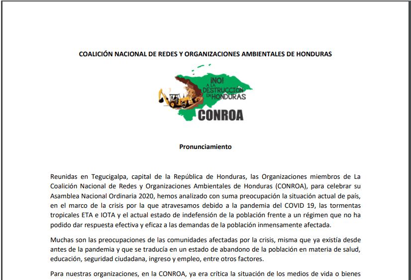 Pronunciamiento CONROA – Asamblea Anual 2020