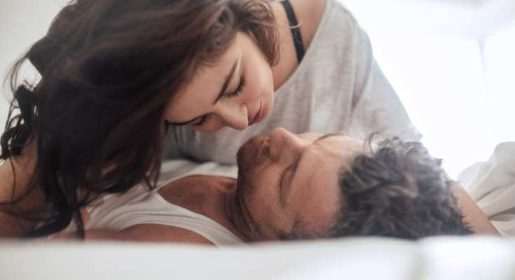 After having an improved sex life a couple is enjoying an intimate moment