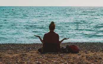 Woman in a meditative pose image