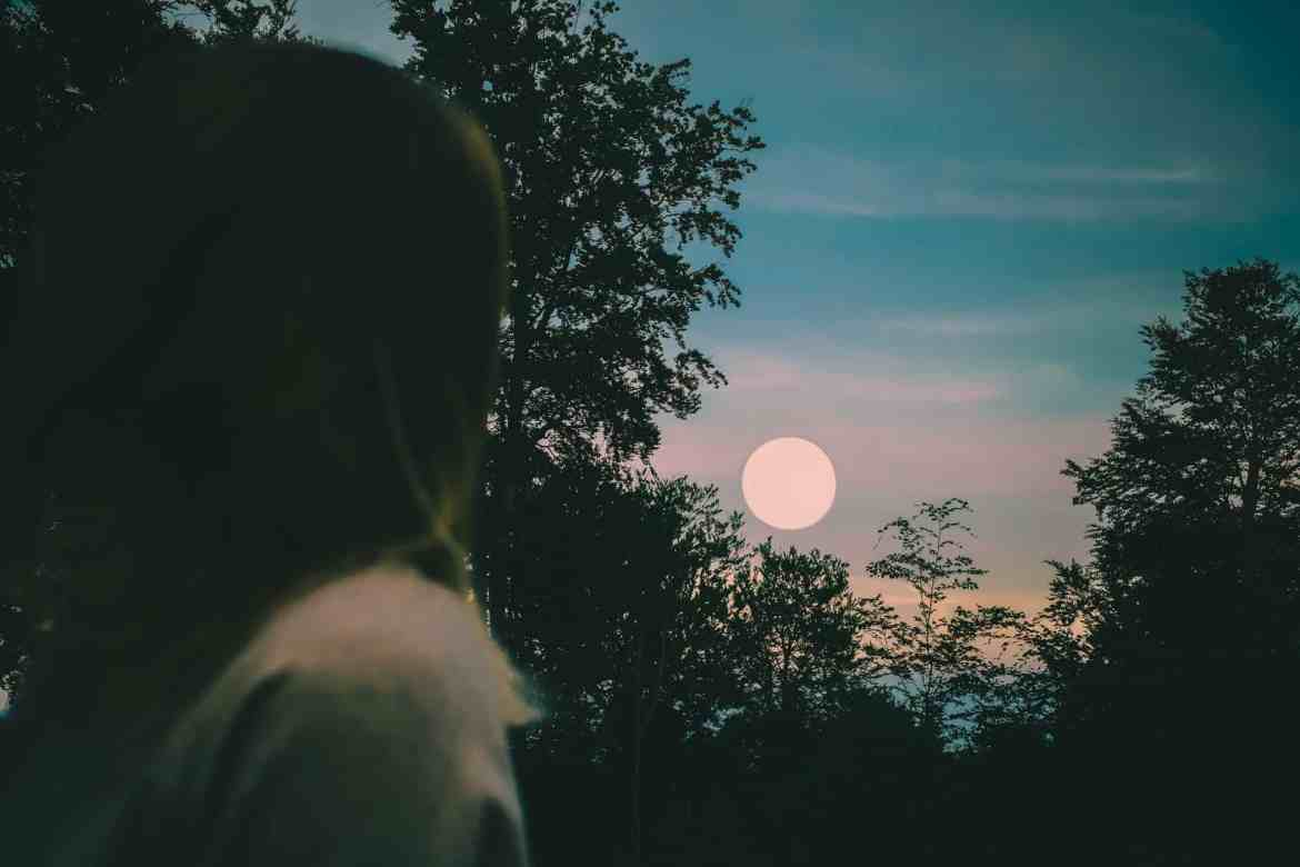 Caped person following the full moon in the sky from the forest | Turn anger into effective action | Taurus Full Moon | Hunter's Moon | Conscious Content