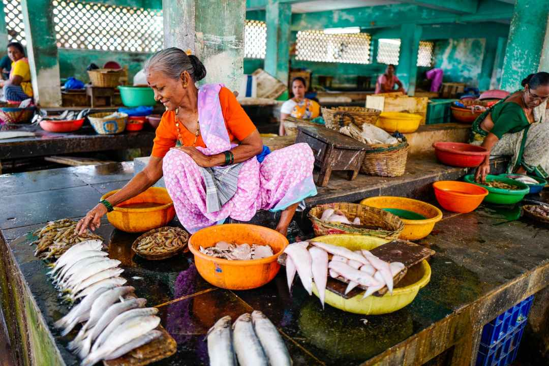 woman sitting near fishes and basins