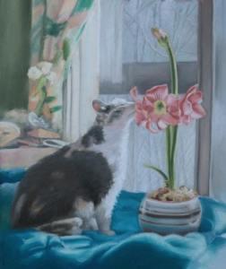 Peaches by animal artist Bernadette Kazmarski