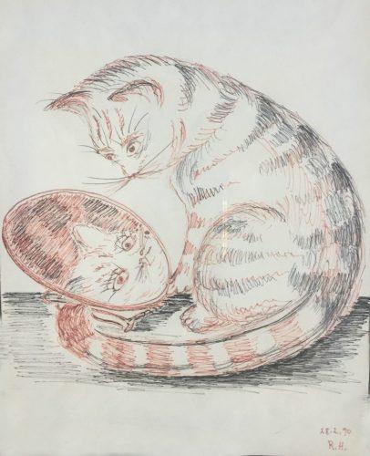 cat-mirror-drawing