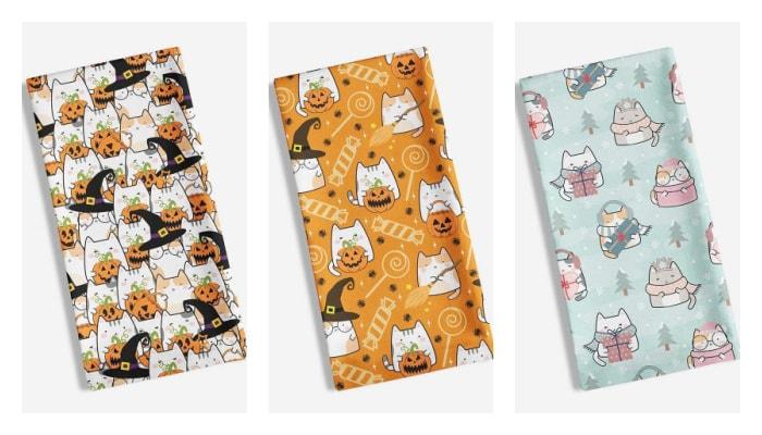 cat-tea-towel-halloween-winter
