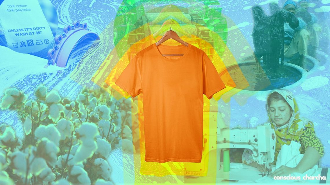 Journey of a t-shirt. an orange t-shirt with making process images in background