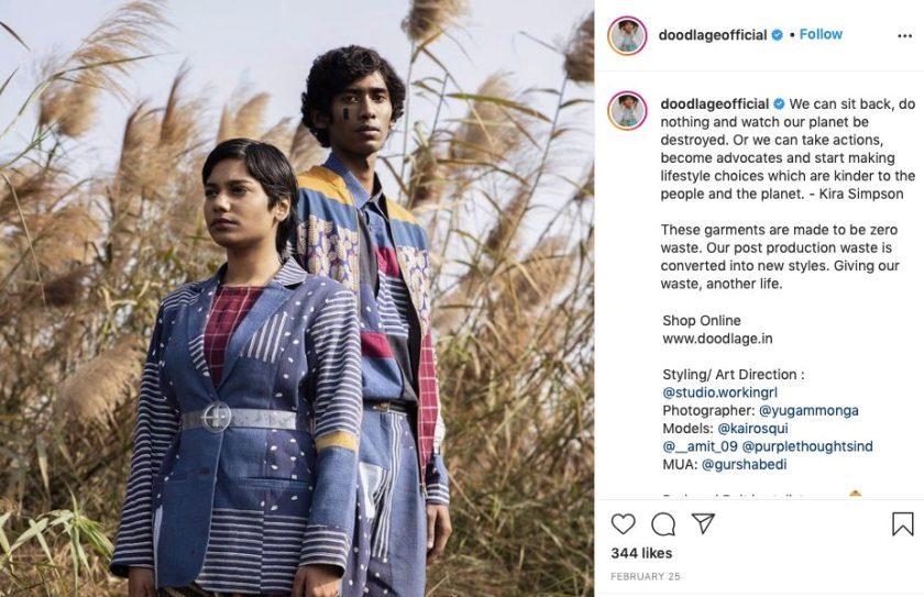 Sustainable fashion brands: Doodlage. Zero-waste clothing range. Image from Instagram.