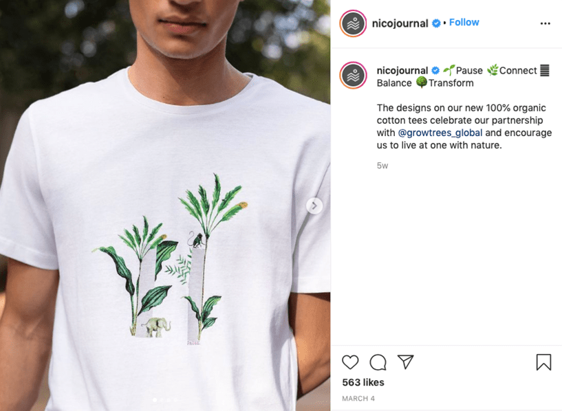 Conscious clothing by Nicobar India. Image from Instagram.