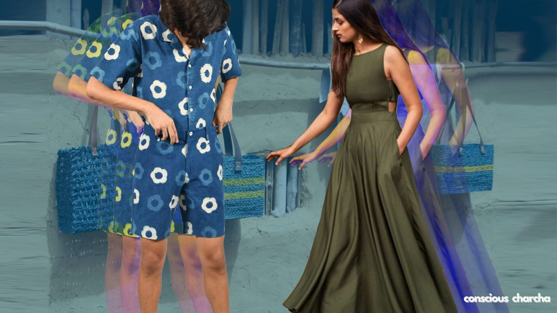 Sustainable fashion brands list. Co-ord mens set by Doodlage , dress by Nicobar and bags by Okhai