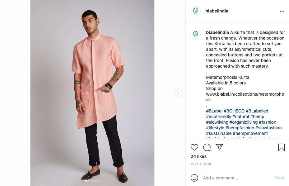 Menswear kurta by BLabel- festive look brand for him