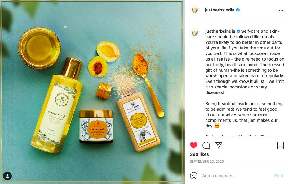 skincare hamper by just herbs India - festive beauty brands