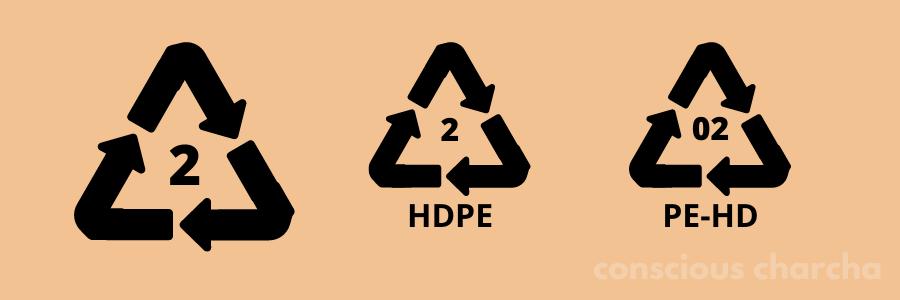 Number 2 HDPE Plastic symbol