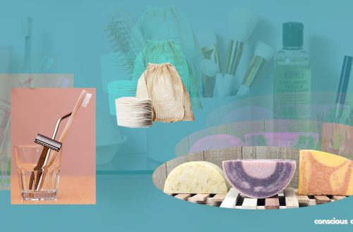 Plastic Free Bathroom essentials- bamboo toothbrush, steel razor, bamboo make-up wipes & soap bars.