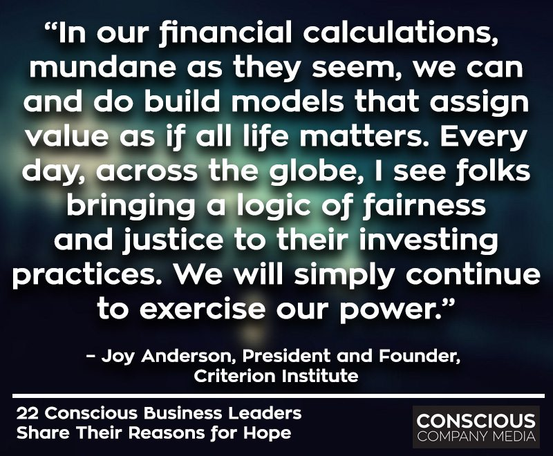 """In our financial calculations, mundane as they seem, we can and do build models that assign value as if all life matters. Every day, across the globe, I see folks bringing a logic of fairness and justice to their investing practices. We will simply continue to exercise our power."" – Joy Anderson, President and Founder, Criterion Institute"