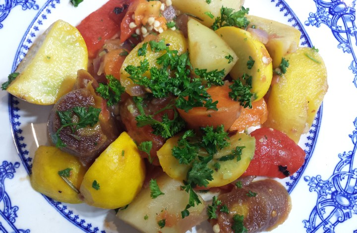 Eight Ball Stew with Roasted Peppers & Tomatoes