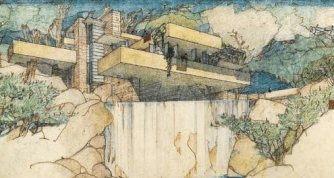 Wright's draft of 'falling water' - drawn in one sitting at the last minute in 1935