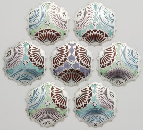 Tile Brooches, 'Mandalam Series' 2011 silver, champlevé enamel