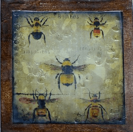 One of four of 'The Beekeeper's Apprentice Series' (2013) Encaustic Mixed Media, 6 x 6""
