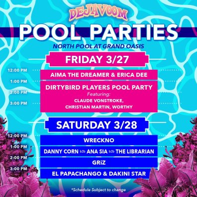 DejaVoom 2020 Pool Party line-up.