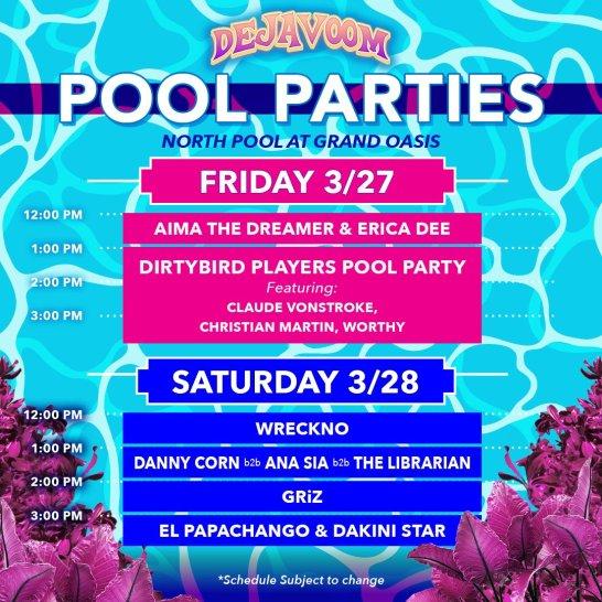 DejaVoom 2020 Pool Party line-up.
