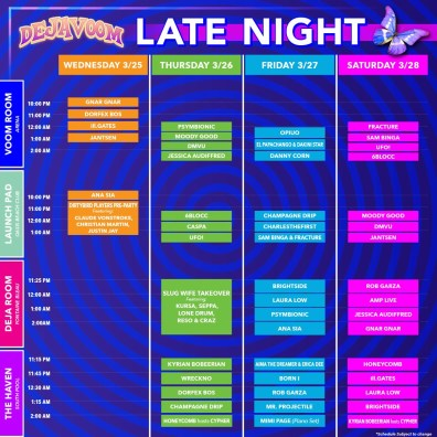 DejaVoom 2020 Late Night set times.