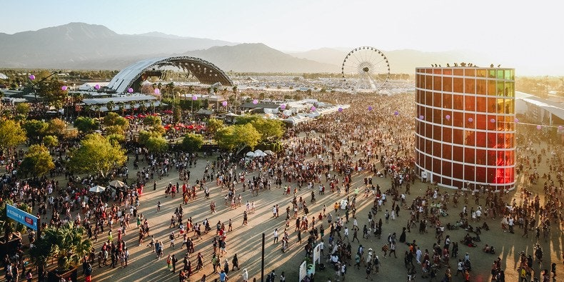 Coachella Valley Music and Arts Festival aerial view sahara tent stage ferris wheel
